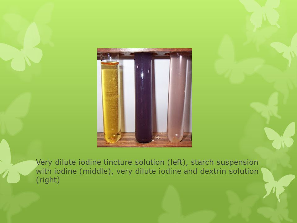 Very dilute iodine tincture solution (left), starch suspension with iodine (middle), very dilute iodine and dextrin solution (right)