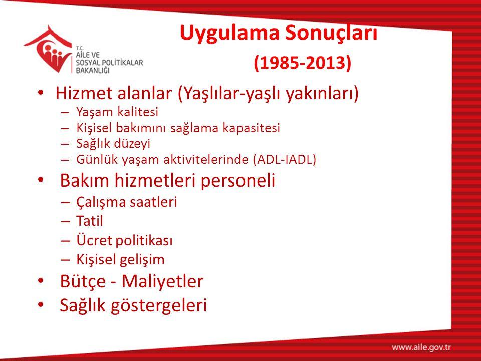 Uygulama Sonuçları (1985-2013)