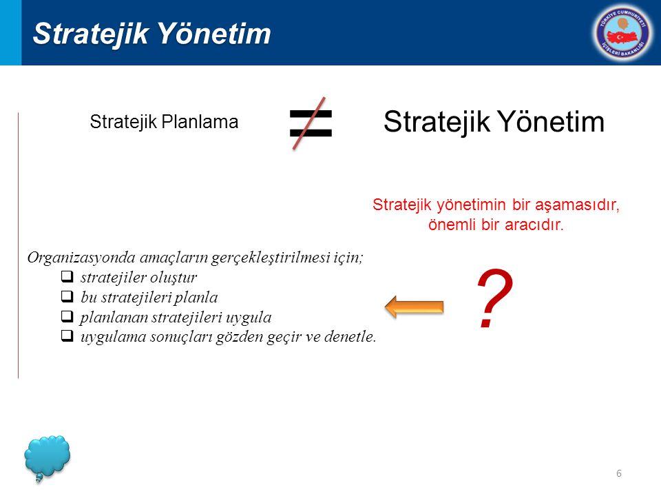 Stratejik yönetimin bir aşamasıdır,
