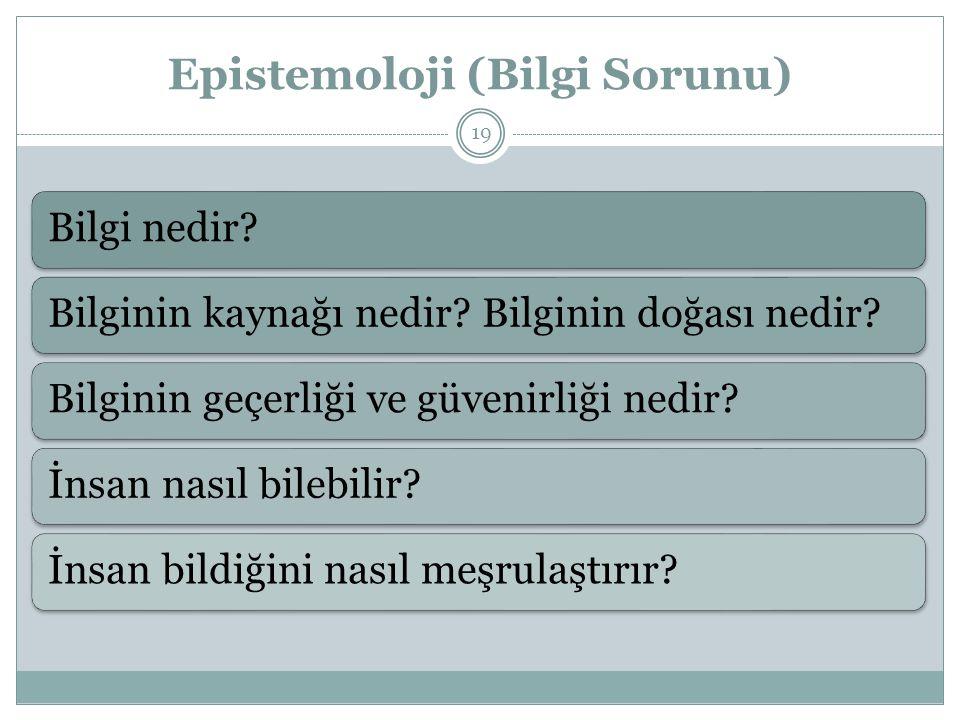Epistemoloji (Bilgi Sorunu)
