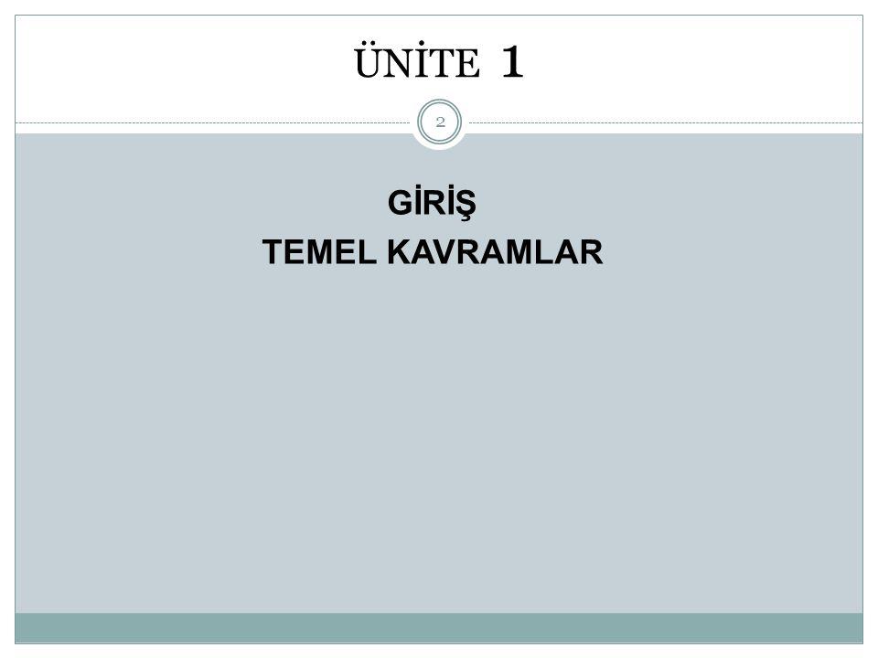 ÜNİTE 1 GİRİŞ TEMEL KAVRAMLAR