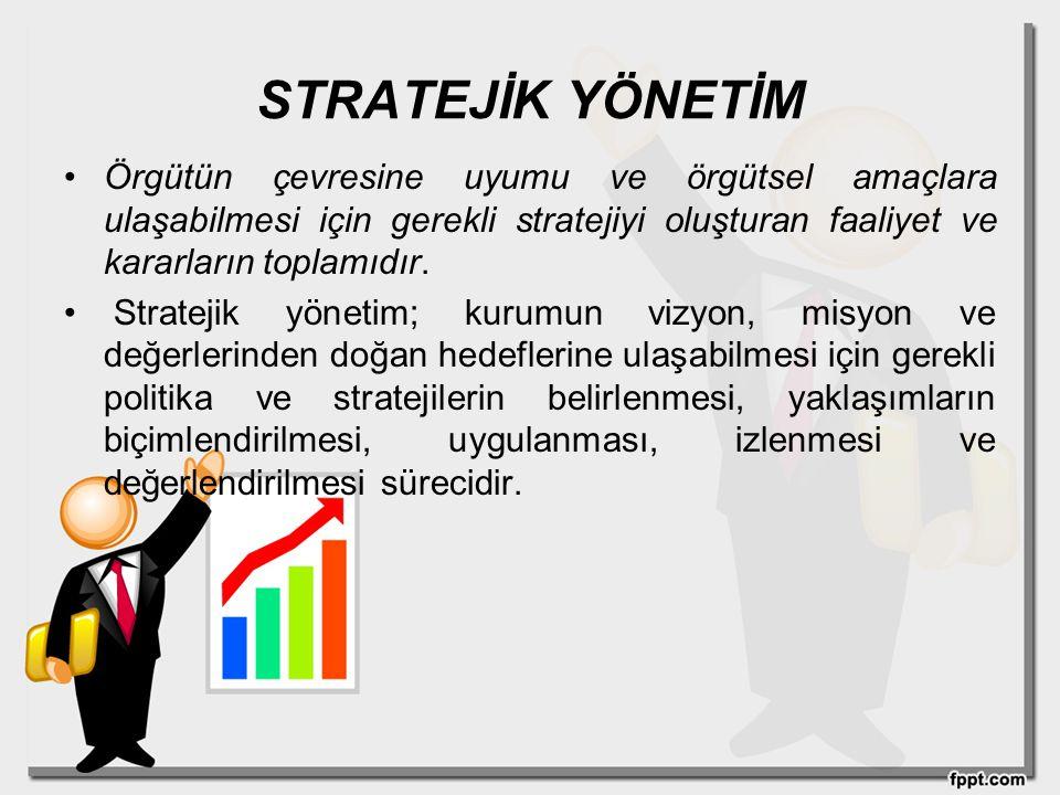 STRATEJİK YÖNETİM Örgütün çevresine uyumu ve örgütsel amaçlara ulaşabilmesi için gerekli stratejiyi oluşturan faaliyet ve kararların toplamıdır.