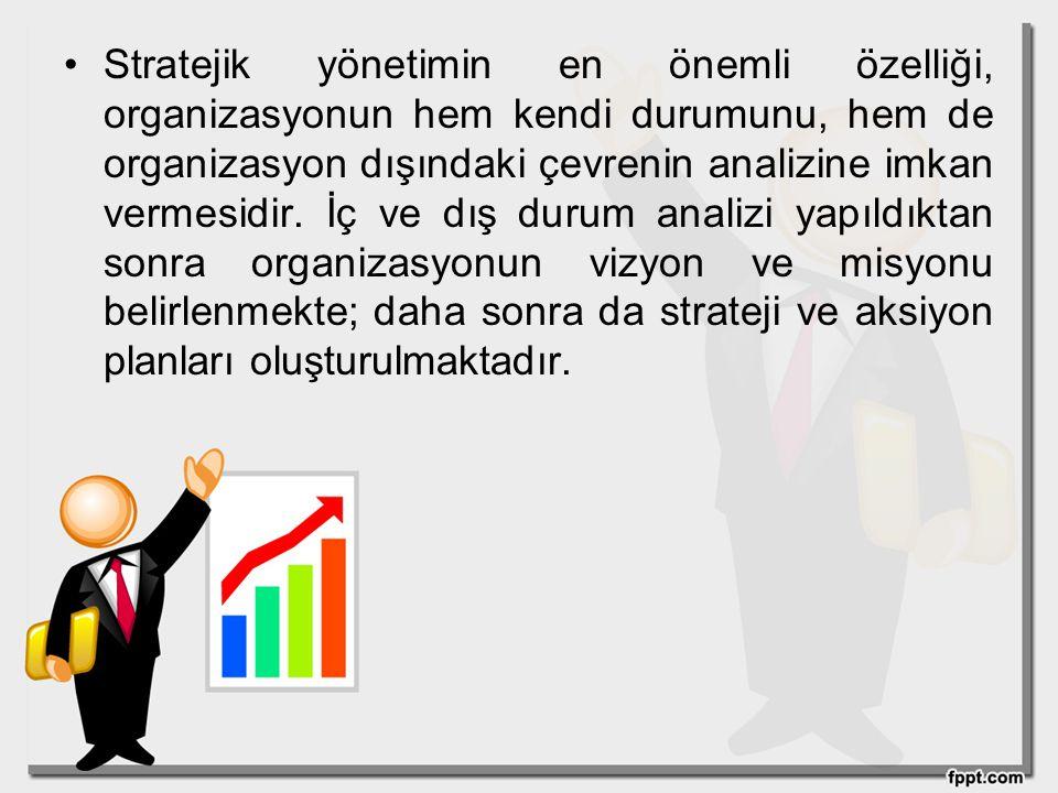 Stratejik yönetimin en önemli özelliği, organizasyonun hem kendi durumunu, hem de organizasyon dışındaki çevrenin analizine imkan vermesidir.
