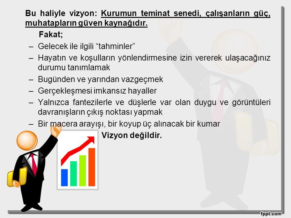 Bu haliyle vizyon: Kurumun teminat senedi, çalışanların güç, muhatapların güven kaynağıdır.