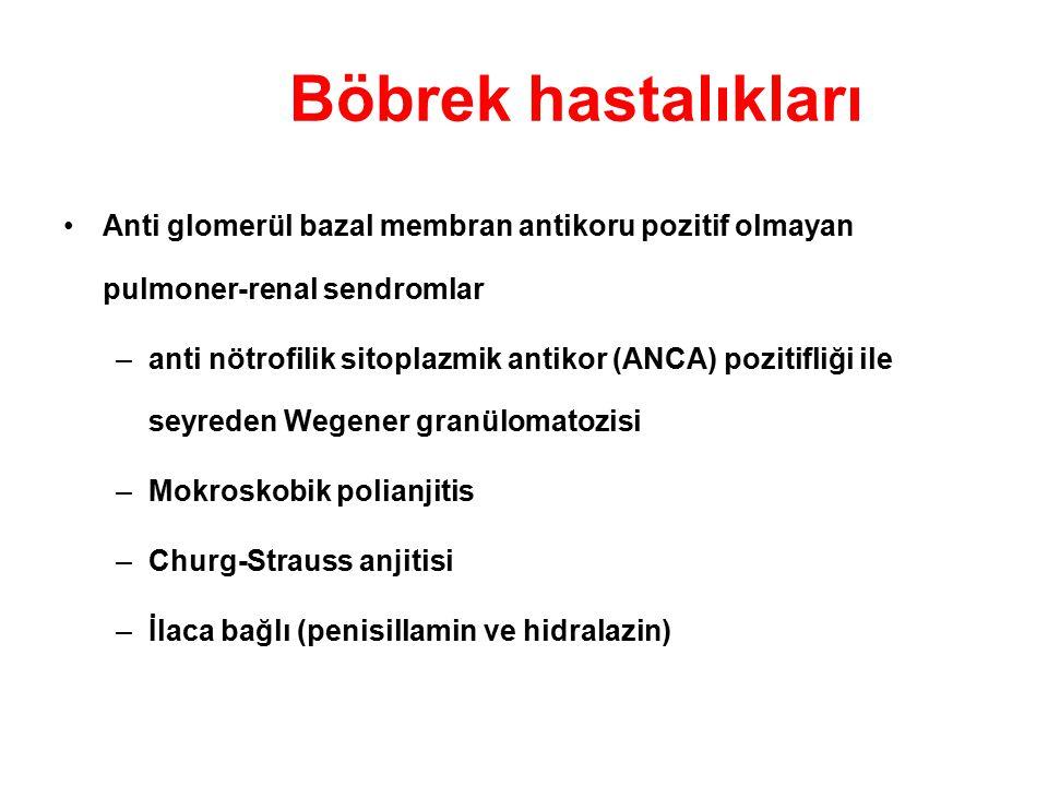 Böbrek hastalıkları Anti glomerül bazal membran antikoru pozitif olmayan pulmoner-renal sendromlar.