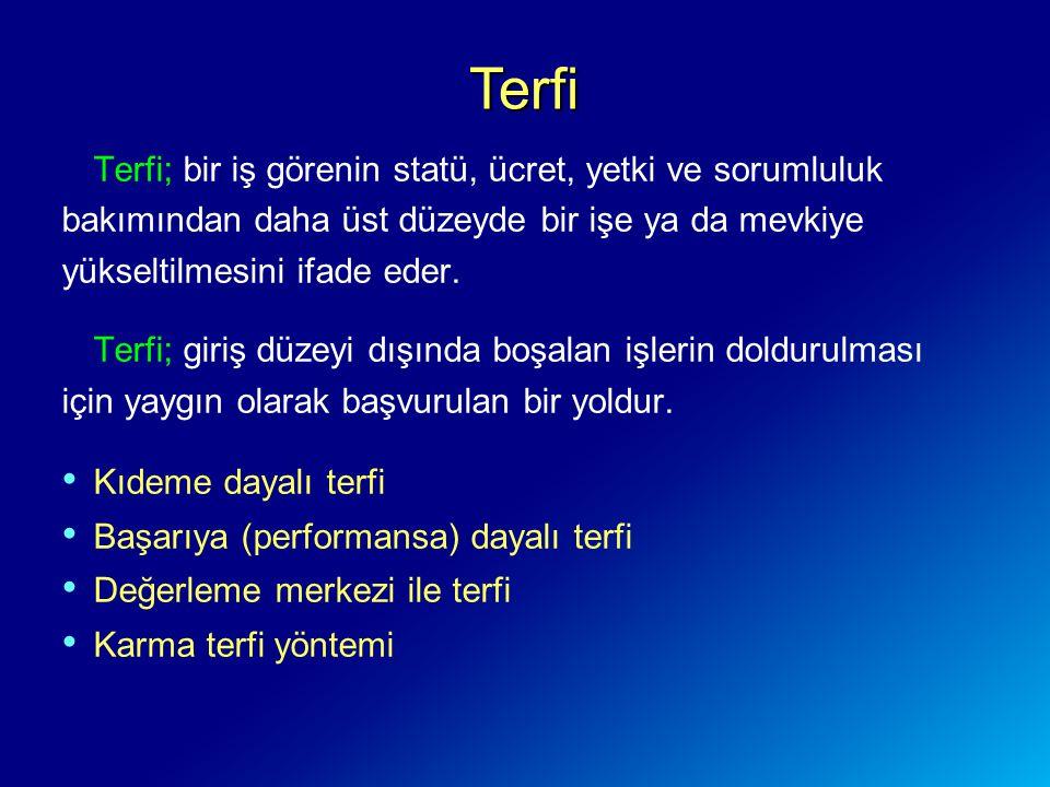 Terfi Terfi; bir iş görenin statü, ücret, yetki ve sorumluluk bakımından daha üst düzeyde bir işe ya da mevkiye yükseltilmesini ifade eder.
