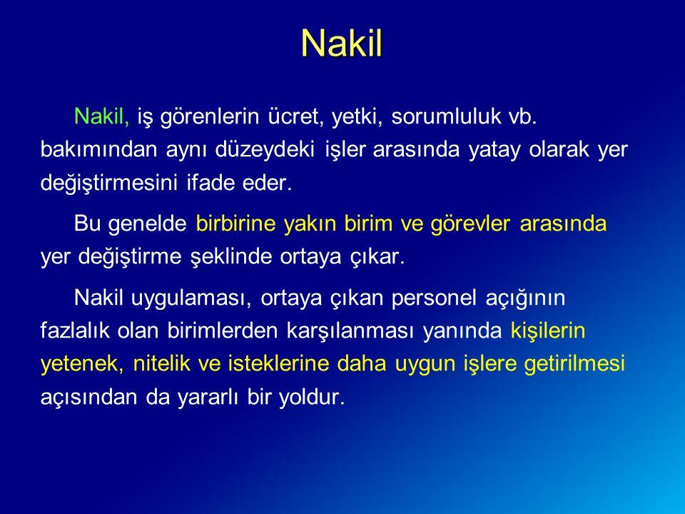 Nakil Nakil, iş görenlerin ücret, yetki, sorumluluk vb. bakımından aynı düzeydeki işler arasında yatay olarak yer değiştirmesini ifade eder.