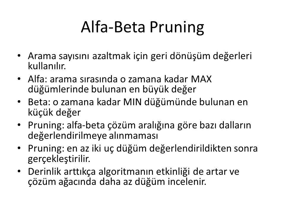 Alfa-Beta Pruning Arama sayısını azaltmak için geri dönüşüm değerleri kullanılır.