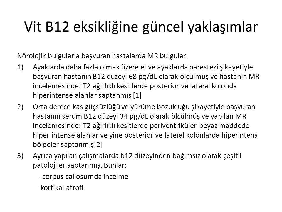 Vit B12 eksikliğine güncel yaklaşımlar