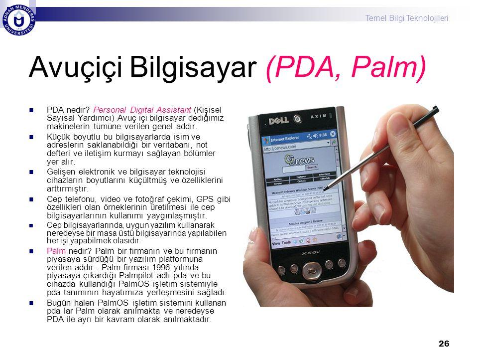 Avuçiçi Bilgisayar (PDA, Palm)