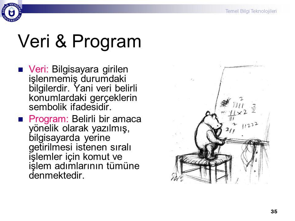 Veri & Program Veri: Bilgisayara girilen işlenmemiş durumdaki bilgilerdir. Yani veri belirli konumlardaki gerçeklerin sembolik ifadesidir.