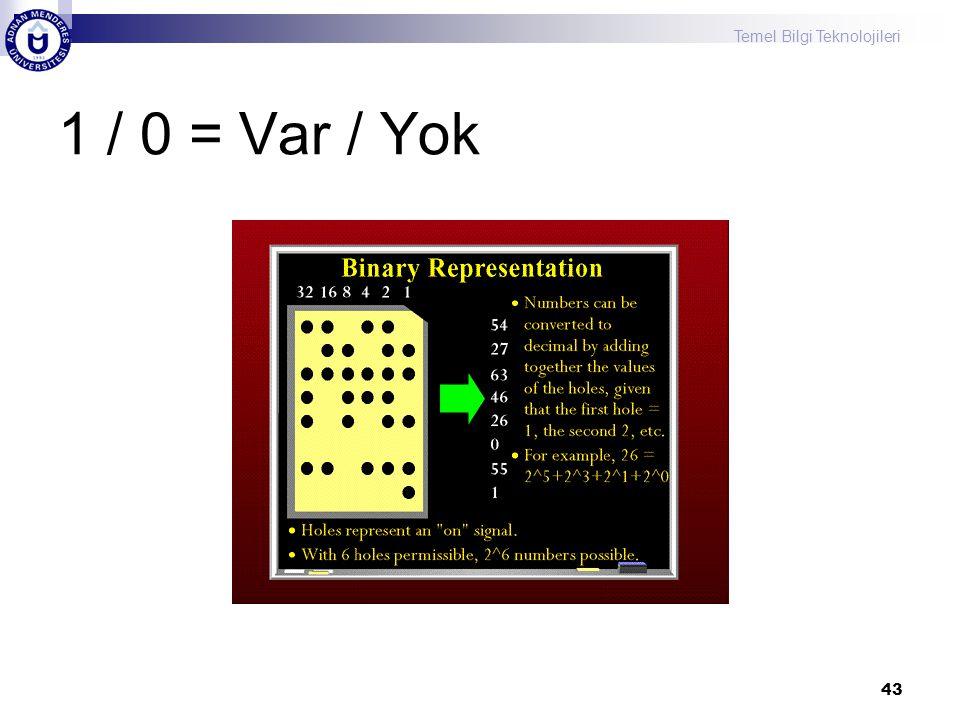 1 / 0 = Var / Yok