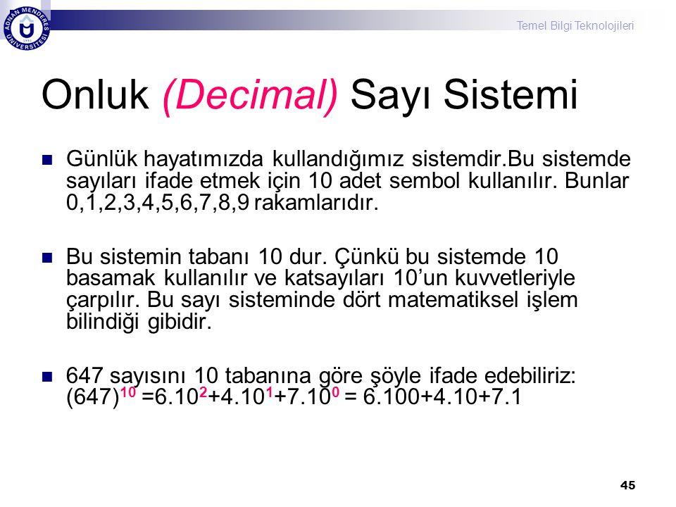 Onluk (Decimal) Sayı Sistemi