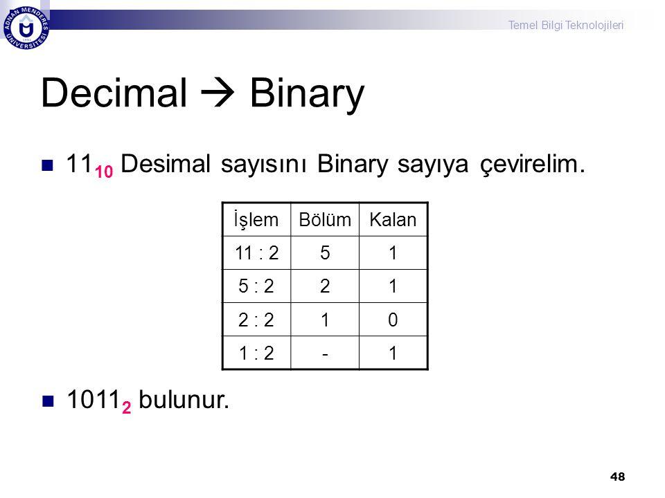 Decimal  Binary 1110 Desimal sayısını Binary sayıya çevirelim.