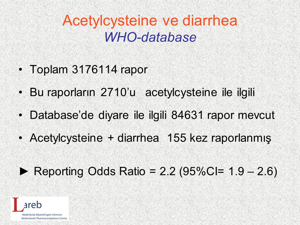 Acetylcysteine ve diarrhea WHO-database