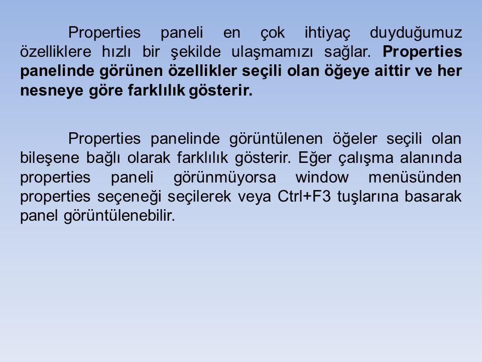 Properties paneli en çok ihtiyaç duyduğumuz özelliklere hızlı bir şekilde ulaşmamızı sağlar. Properties panelinde görünen özellikler seçili olan öğeye aittir ve her nesneye göre farklılık gösterir.