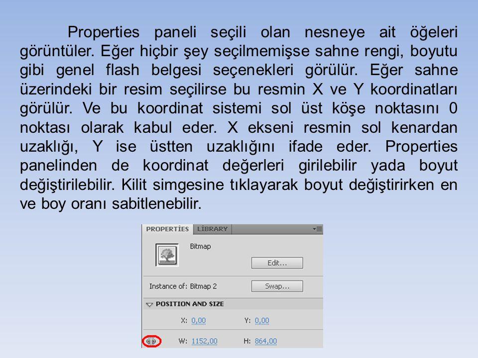Properties paneli seçili olan nesneye ait öğeleri görüntüler