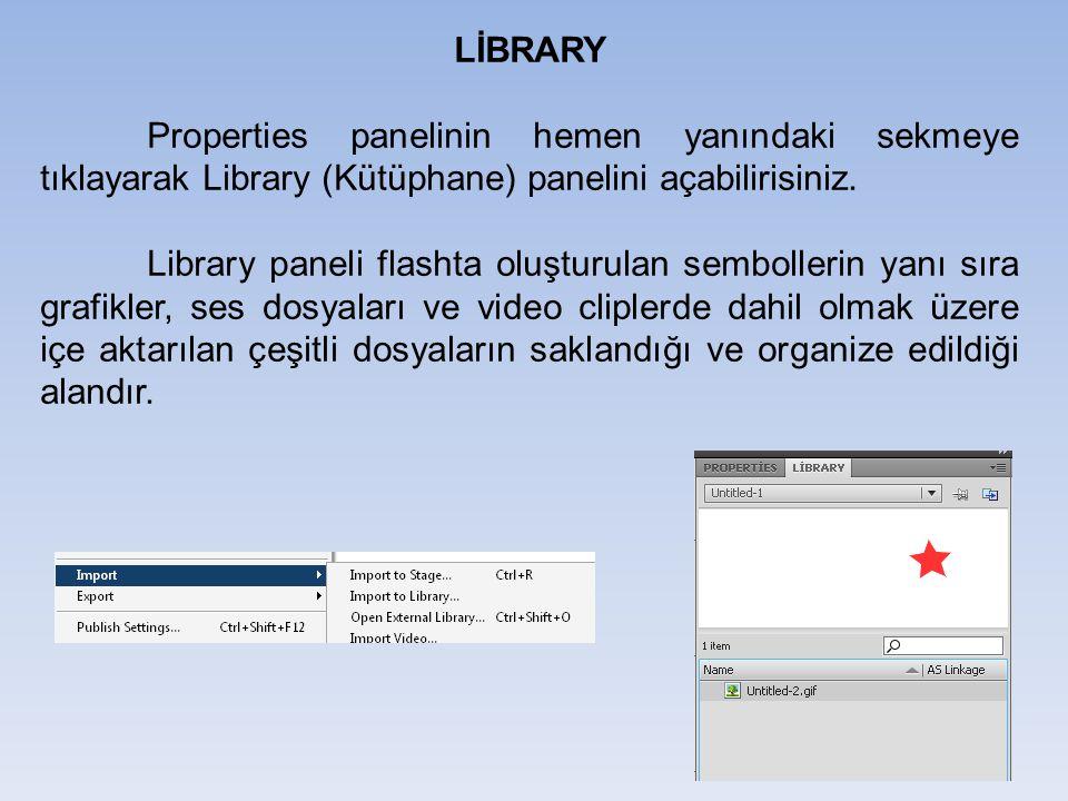 LİBRARY Properties panelinin hemen yanındaki sekmeye tıklayarak Library (Kütüphane) panelini açabilirisiniz.