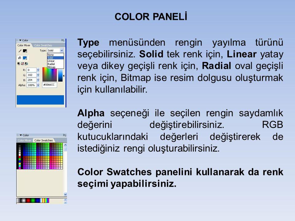 Color Swatches panelini kullanarak da renk seçimi yapabilirsiniz.