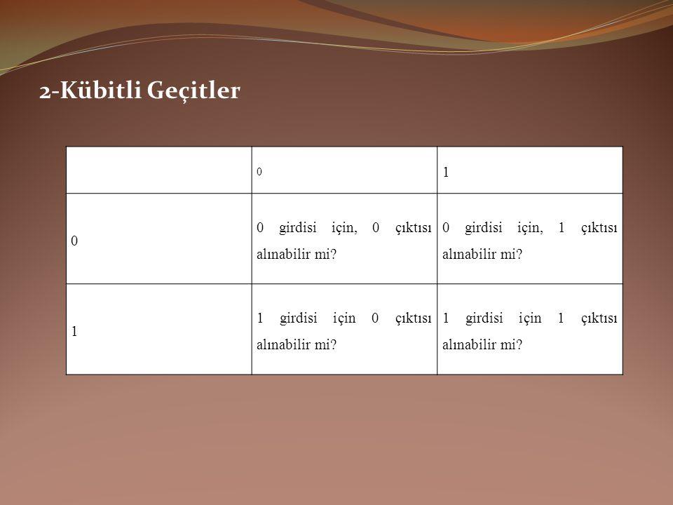2-Kübitli Geçitler 1 0 girdisi için, 0 çıktısı alınabilir mi