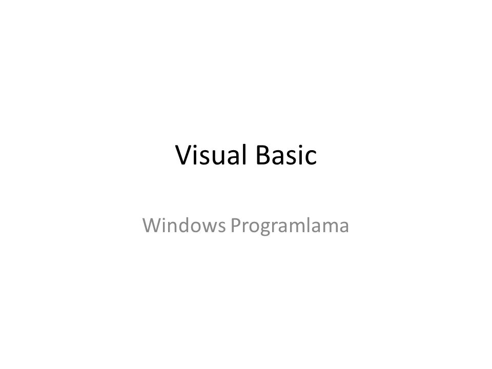 Visual Basic Windows Programlama