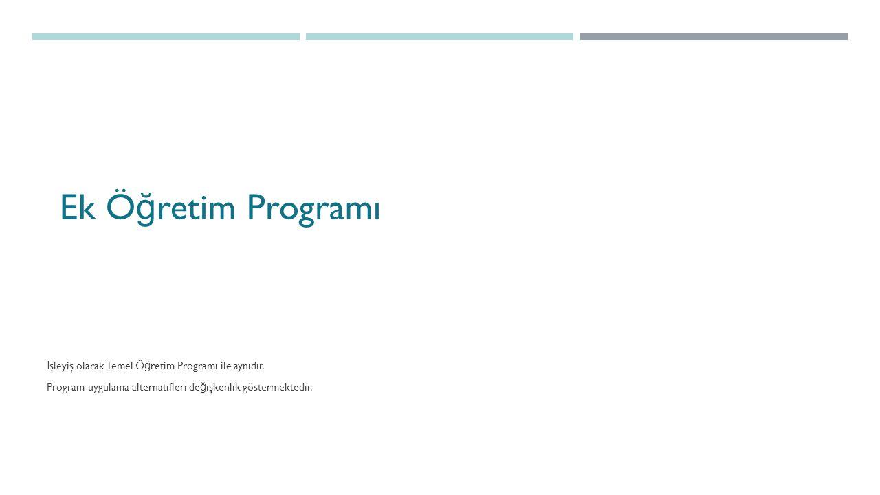 Ek Öğretim Programı İşleyiş olarak Temel Öğretim Programı ile aynıdır.