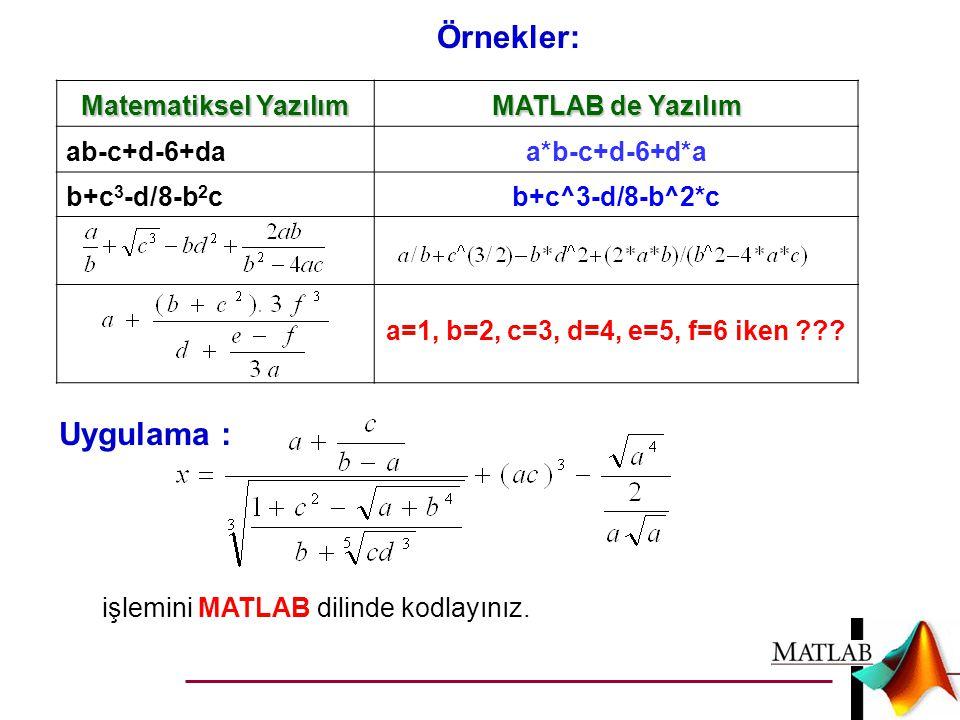 Örnekler: Uygulama : Matematiksel Yazılım MATLAB de Yazılım