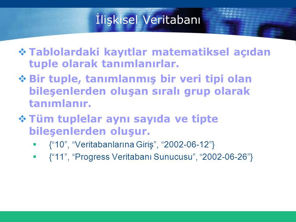 İlişkisel Veritabanı Tablolardaki kayıtlar matematiksel açıdan tuple olarak tanımlanırlar.