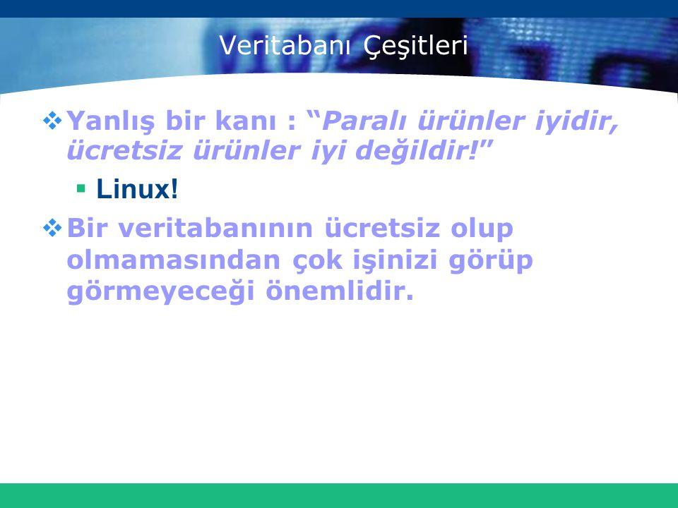 Linux! Veritabanı Çeşitleri
