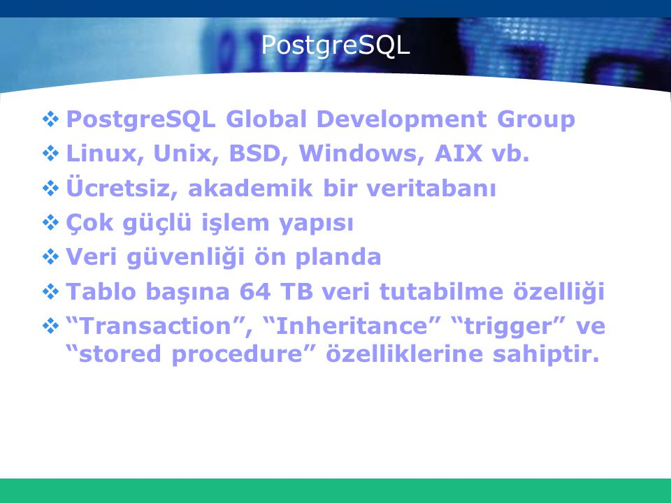 PostgreSQL PostgreSQL Global Development Group