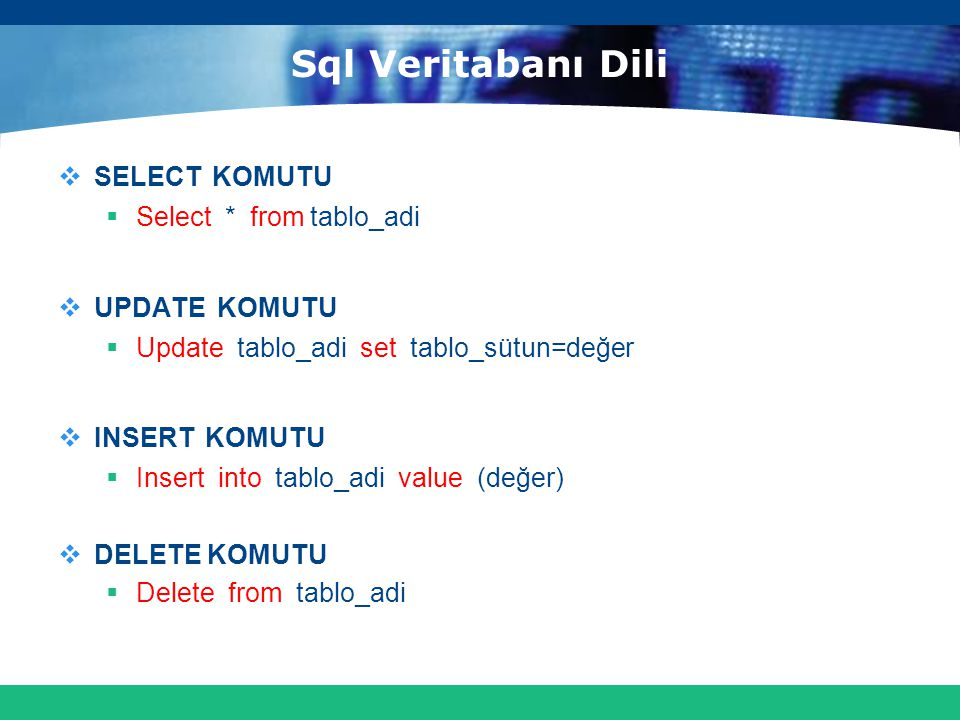 Sql Veritabanı Dili SELECT KOMUTU Select * from tablo_adi