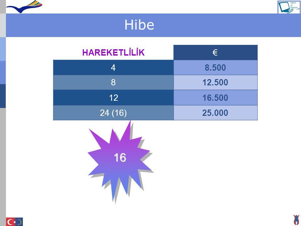 Hibe HAREKETLİLİK € 4 8.500 8 12.500 12 16.500 24 (16) 25.000 16