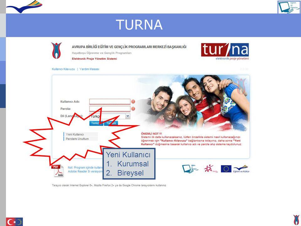 TURNA Yeni Kullanıcı Kurumsal Bireysel