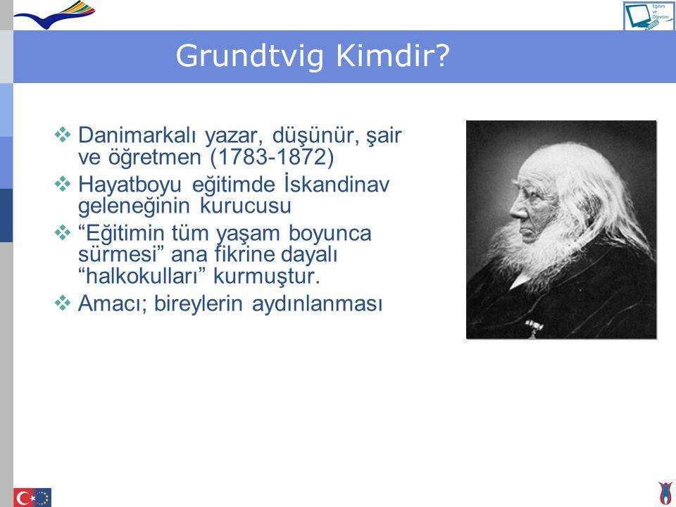 Grundtvig Kimdir Danimarkalı yazar, düşünür, şair ve öğretmen (1783-1872) Hayatboyu eğitimde İskandinav geleneğinin kurucusu.