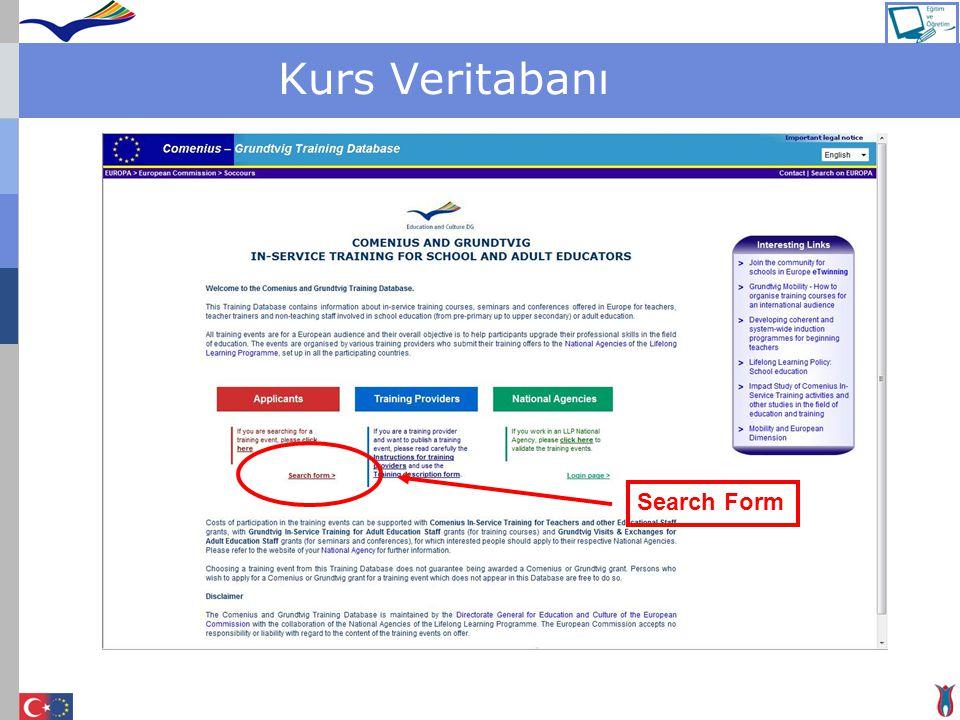 Kurs Veritabanı Search Form