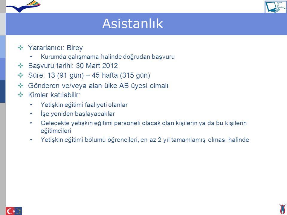 Asistanlık Yararlanıcı: Birey Başvuru tarihi: 30 Mart 2012