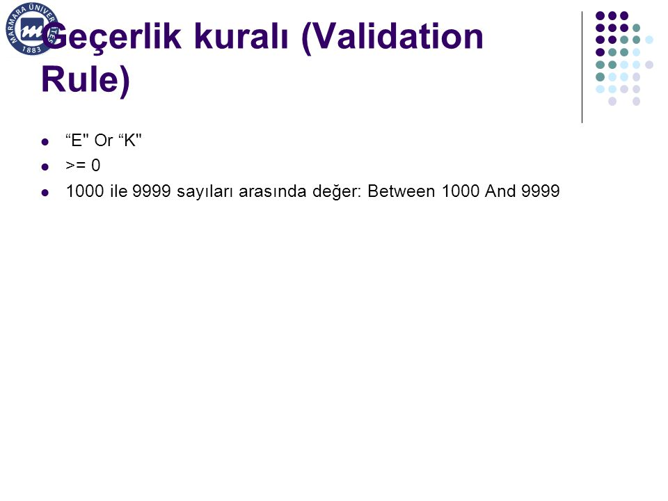 Geçerlik kuralı (Validation Rule)