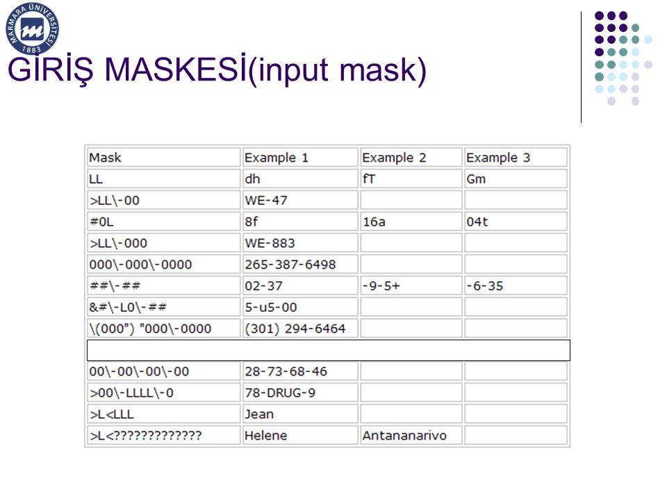 GİRİŞ MASKESİ(input mask)