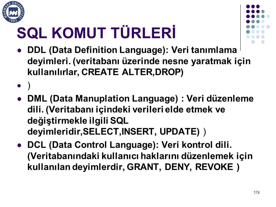 SQL KOMUT TÜRLERİ