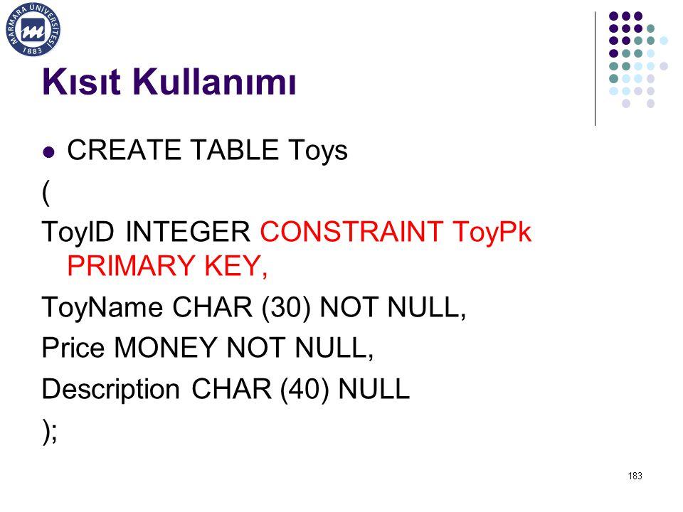 Kısıt Kullanımı CREATE TABLE Toys (