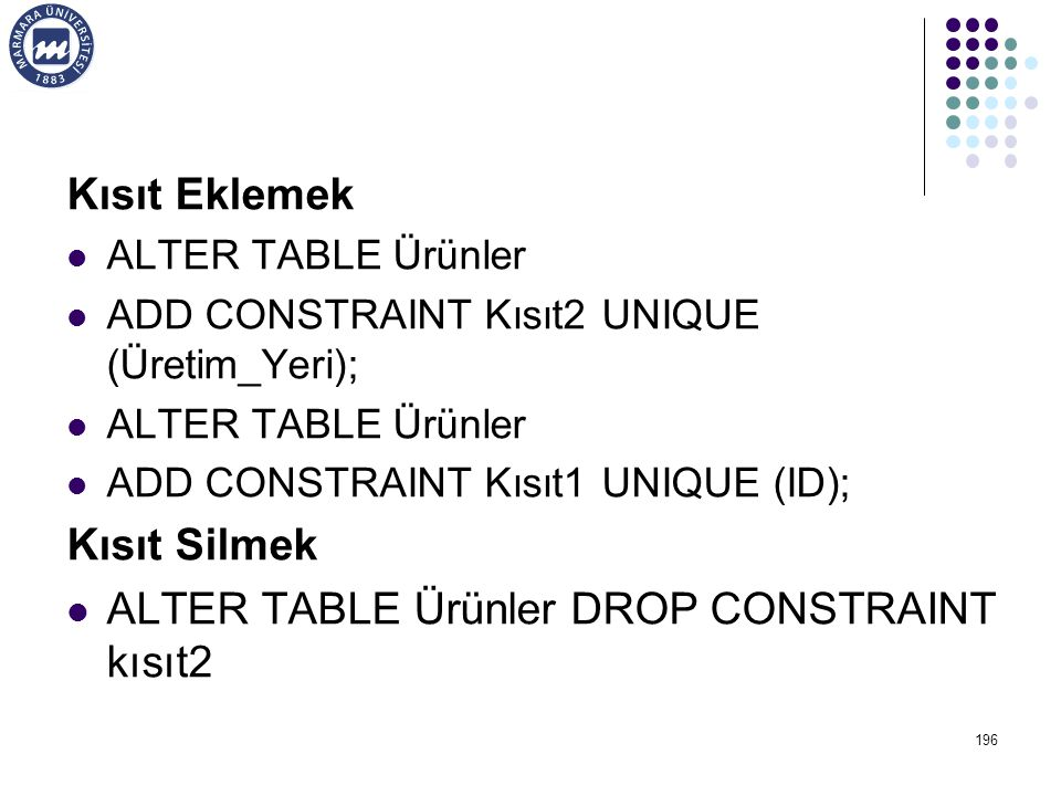 ALTER TABLE Ürünler DROP CONSTRAINT kısıt2