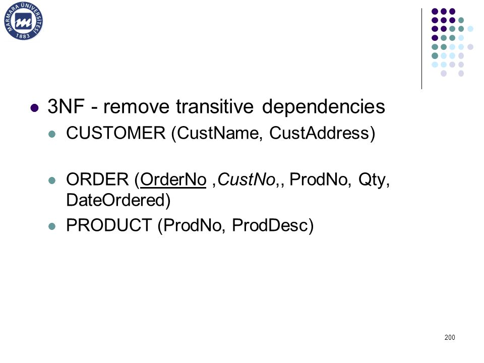 3NF - remove transitive dependencies