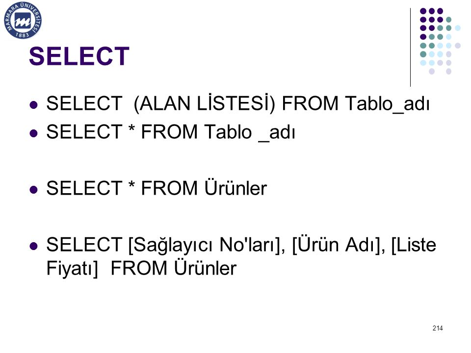 SELECT SELECT (ALAN LİSTESİ) FROM Tablo_adı SELECT * FROM Tablo _adı