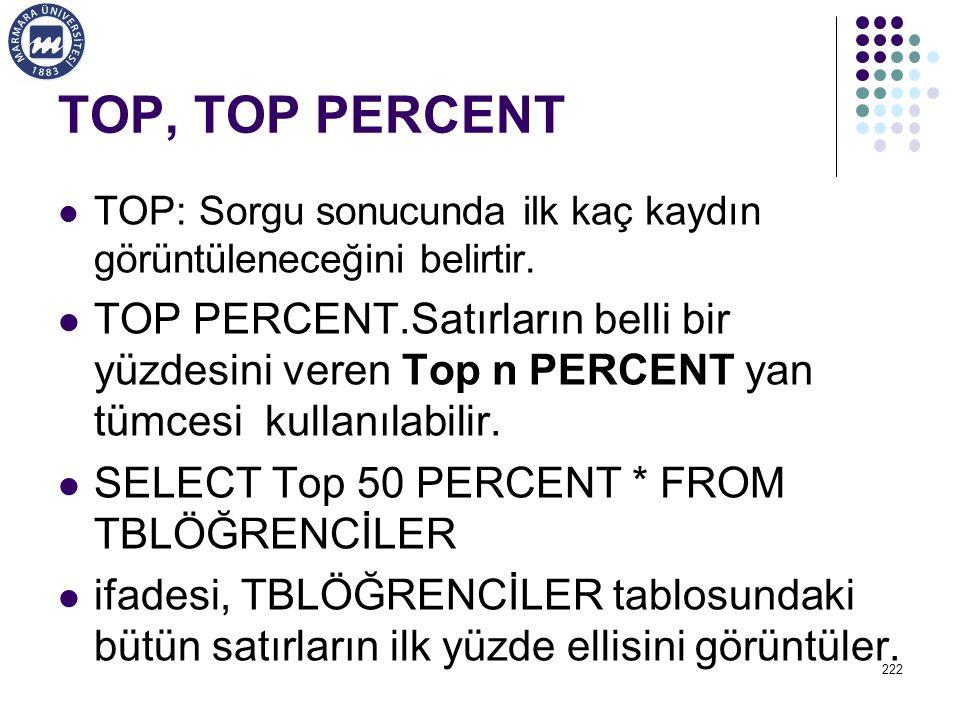 TOP, TOP PERCENT TOP: Sorgu sonucunda ilk kaç kaydın görüntüleneceğini belirtir.