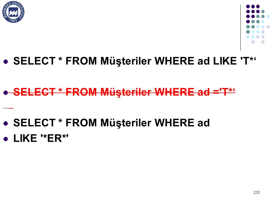 SELECT * FROM Müşteriler WHERE ad LIKE T*'
