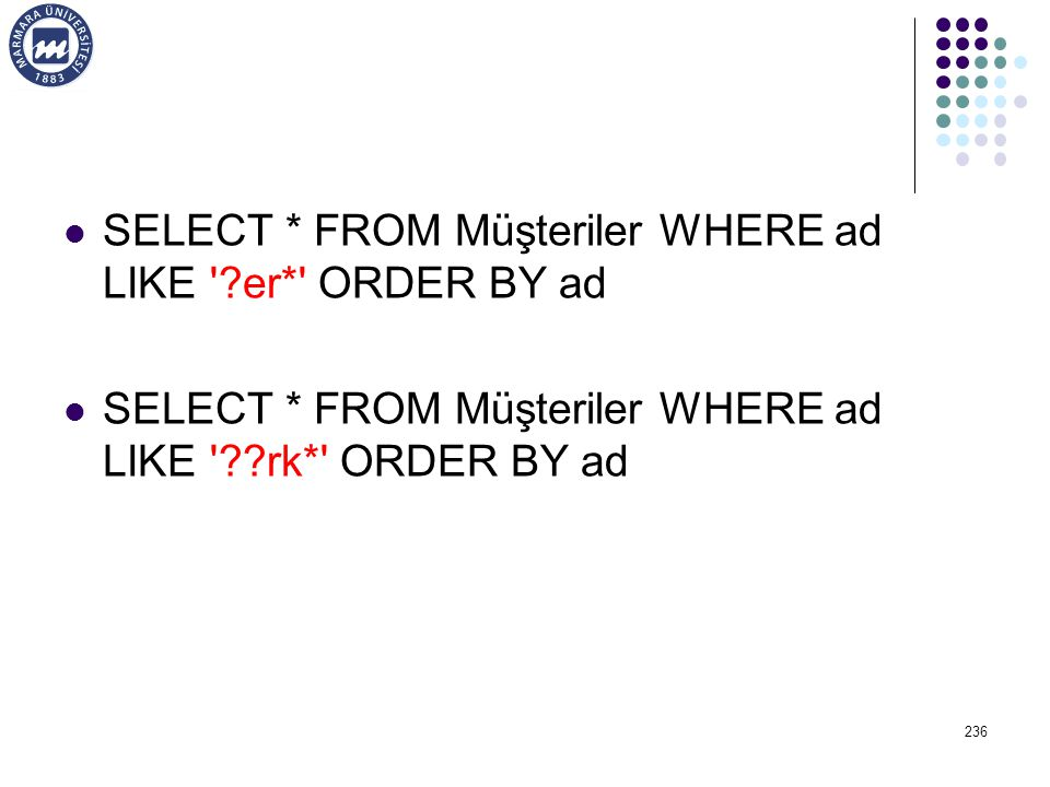 SELECT * FROM Müşteriler WHERE ad LIKE er* ORDER BY ad