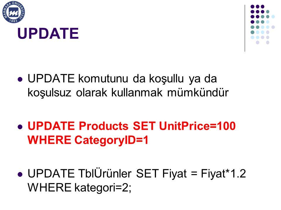 UPDATE UPDATE komutunu da koşullu ya da koşulsuz olarak kullanmak mümkündür. UPDATE Products SET UnitPrice=100 WHERE CategoryID=1.