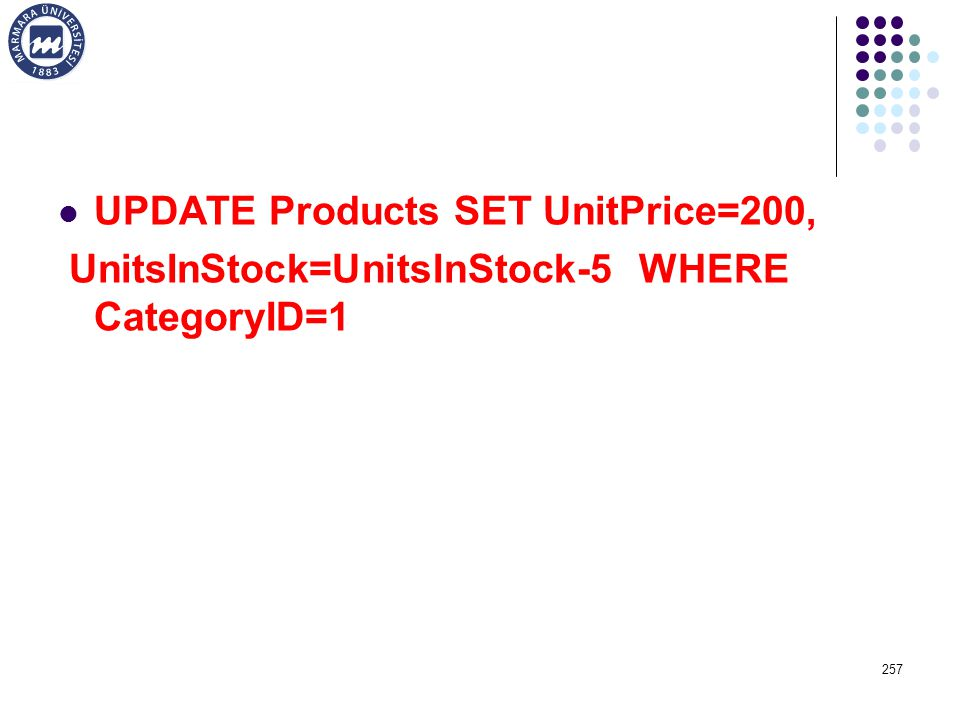 UPDATE Products SET UnitPrice=200,
