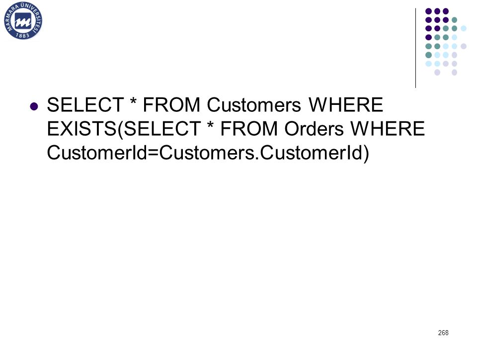 SELECT. FROM Customers WHERE EXISTS(SELECT