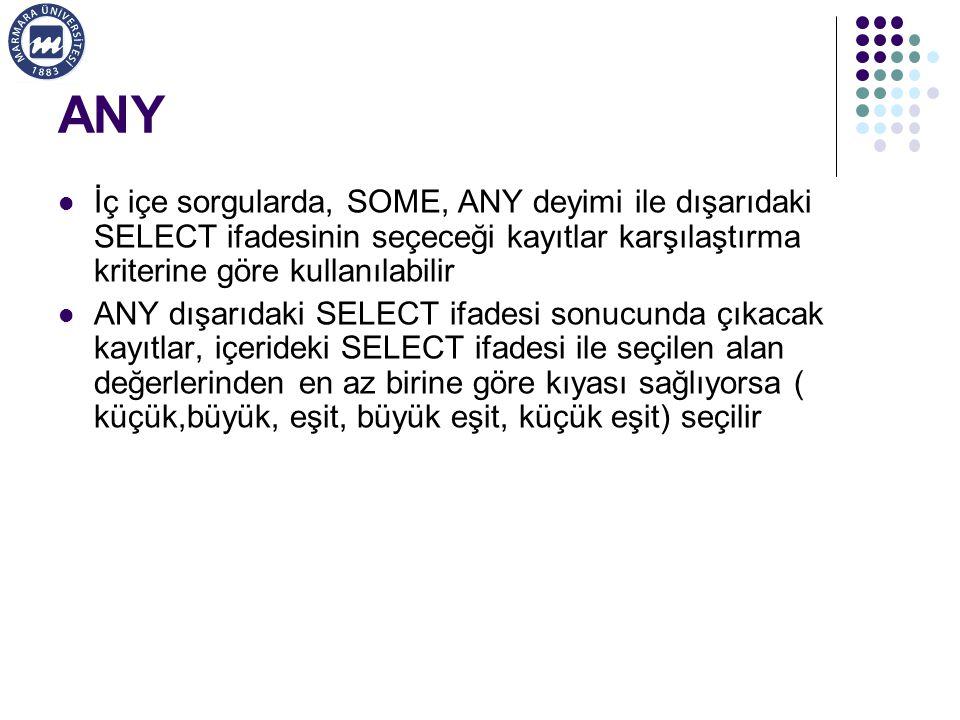 ANY İç içe sorgularda, SOME, ANY deyimi ile dışarıdaki SELECT ifadesinin seçeceği kayıtlar karşılaştırma kriterine göre kullanılabilir.